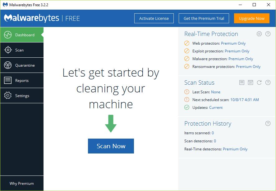 Click on Scan Now once you run the Malwarebytes Anti-Malware