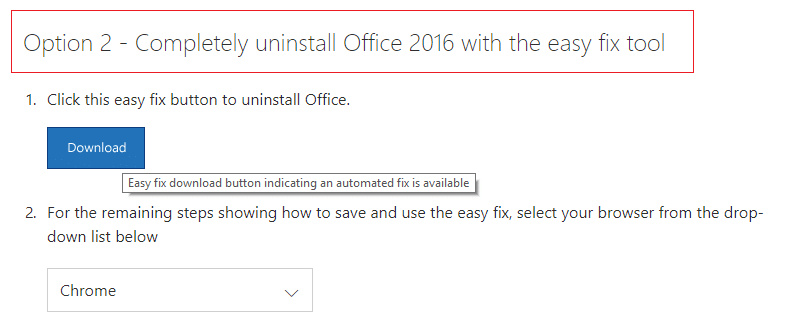 Download fixit tool to completely uninstall Microsoft Office