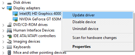 Expand Display adapters and then right-click on the integrated graphics card and select Update Driver