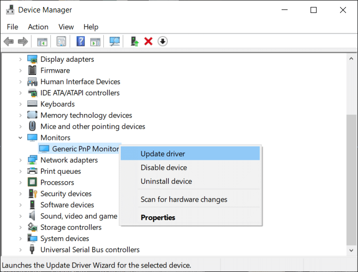 Expand Monitors then right-click on Generic PnP Monitor and select Update Driver