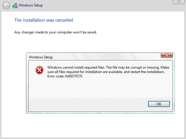 Fix Windows Cannot Install Required Files 0x80070570