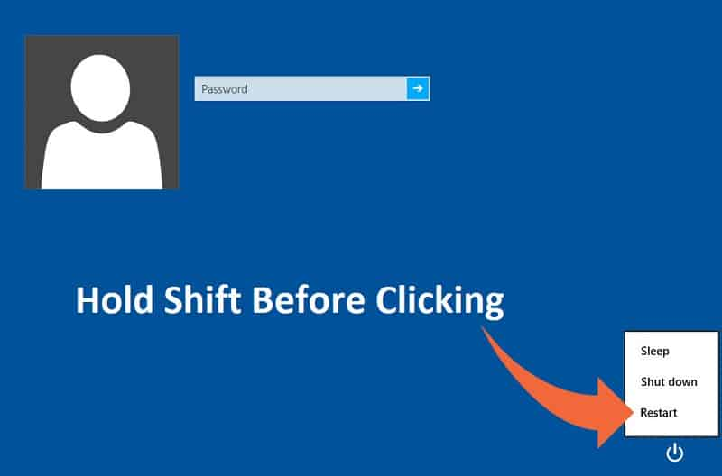 click on Power button then hold Shift and click on Restart (while holding the shift button).
