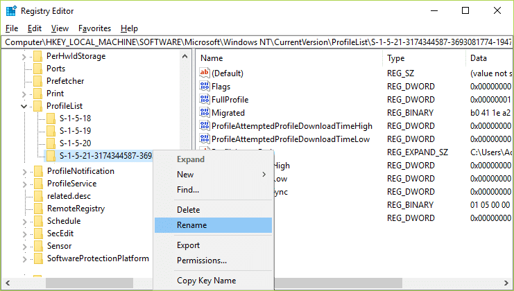 If you only have one folder with above description which ends with the .bak extension then rename it