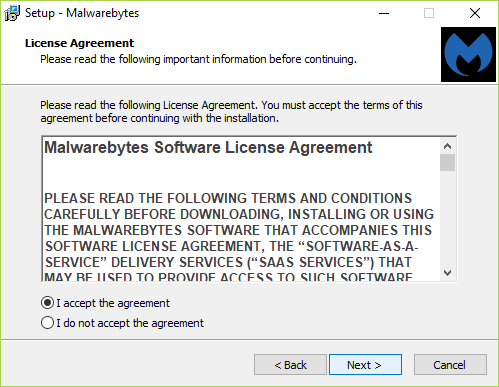 Make sure to check mark I accept the agreement on the License Agreement screen and click Next
