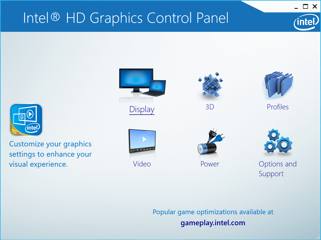 Now click on Display from the Intel HD Graphics Control Panel
