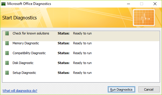 Now click on Run Diagnostics in order to Start it