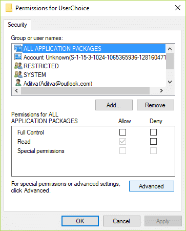 Now from the permissions window select ALL APPLICATION PACKAGES then click Advanced