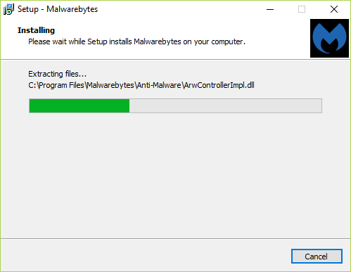 Once you click the Install button, the installation will start and you will see the progress bar