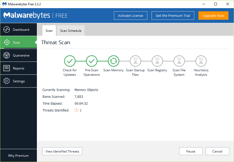 Pay attentionto the Threat Scan screen while Malwarebytes Anti-Malware scans your PC