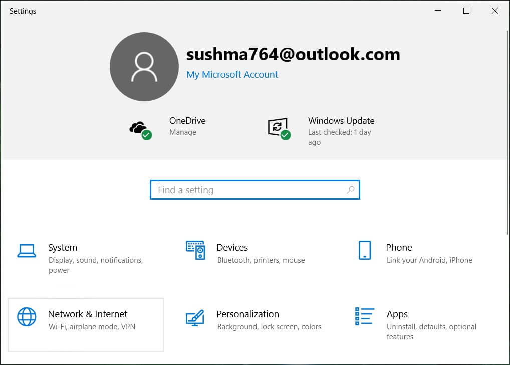 Click on Network & Internet | Enable or Disable Bluetooth in Windows 10