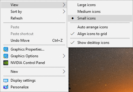 Right-click and from view select Small icons