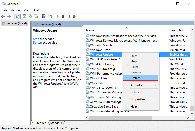 Right-click on Windows Update Service and select Restart