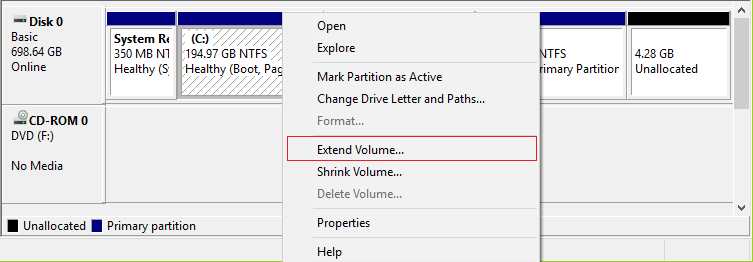 Right click on system drive (C) and select Extend Volume