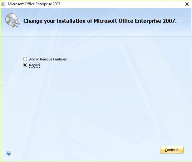 Select Repair option in order repair Microsoft Office