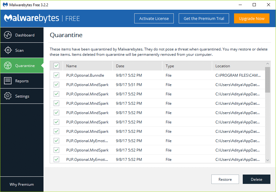 Select all the malware's or potentially unwanted programs (PUP) and click Delete
