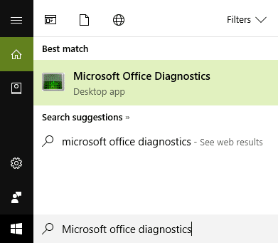 Type microsoft office diagnostics in the search and click on it