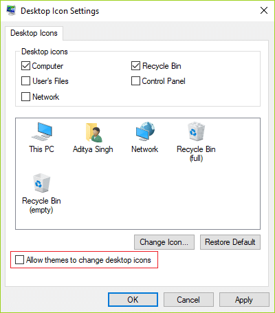 Uncheck Allow themes to change desktop icons in Desktop icon settings