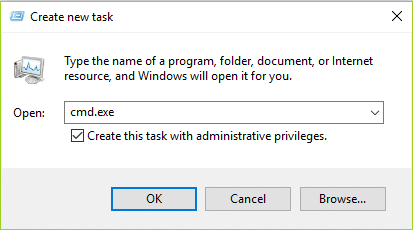 type cmd.exe in create new task and then click OK