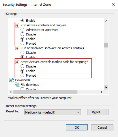 Enable ActiveX controls and plug-ins