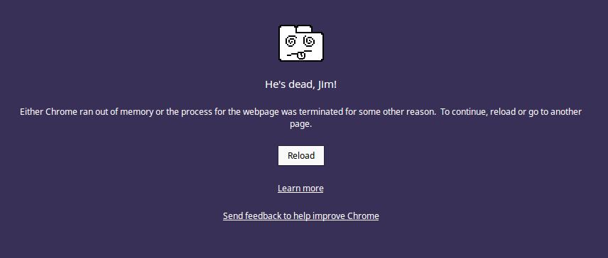 Fix Google Chrome error He's Dead, Jim!