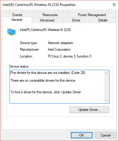 Fix Unable to install Network Adapter Error Code 28