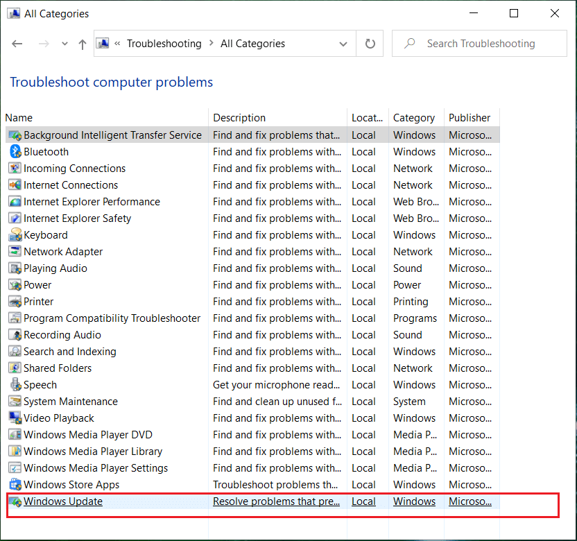 From the Troubleshoot computer problems list select Windows Update