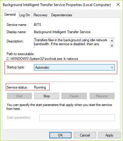 Make sure BITS is set to Automatic and click Start if the service is not running