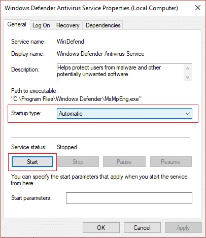 Make sure started type of Windows Defender Service is set to Automatic and click Start