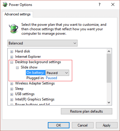 Make sure to set On battery and Plugged in to paused in order to stop background from changing automatically