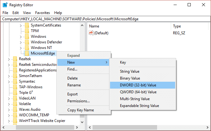 Now right-click on MicrosoftEdge key and select New then click DWORD (32-bit) Value.