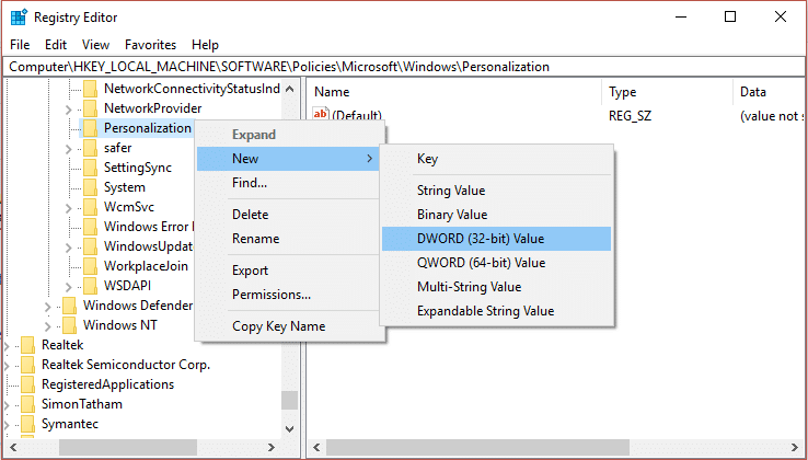 Now right-click on Personalization and select New then click DWORD (32-bit) value