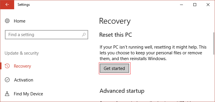 On Update & Security click on Get Started under Reset this PC