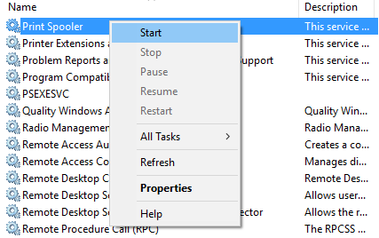 Right-click on Print Spooler service and select Start