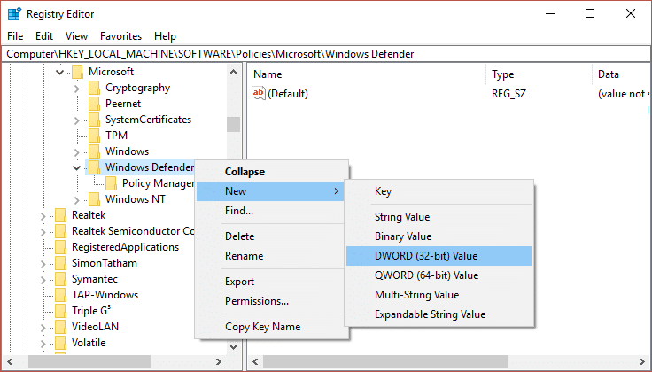 Right click on Windows Defender then select New and then click on DWORD name it as DisableAntiSpyware