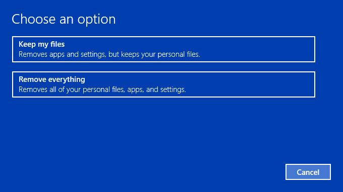 Select the option toKeep my files and click Next