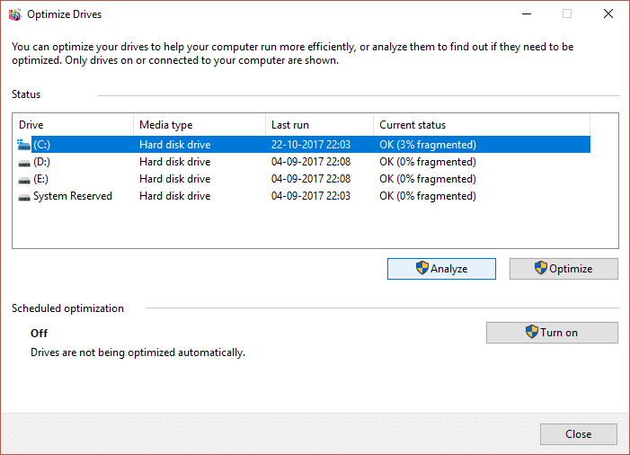 Select your drives one by one and click on Analyze followed by Optimize