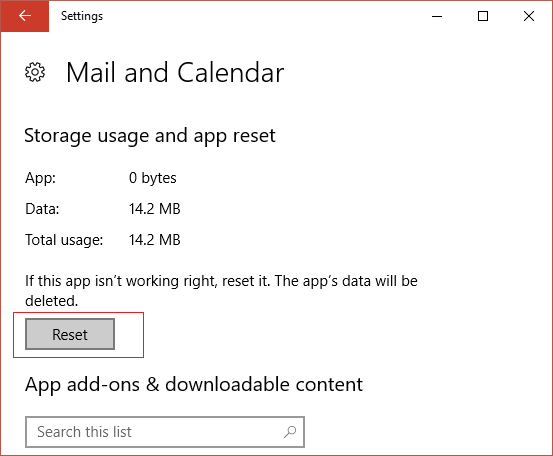 Under Advanced options of Mail and Calendar click on Reset