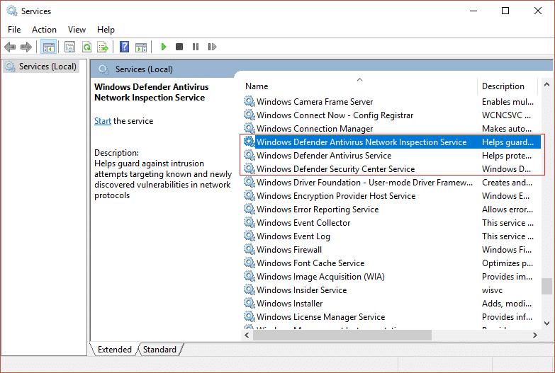 Windows Defender Antivirus Service