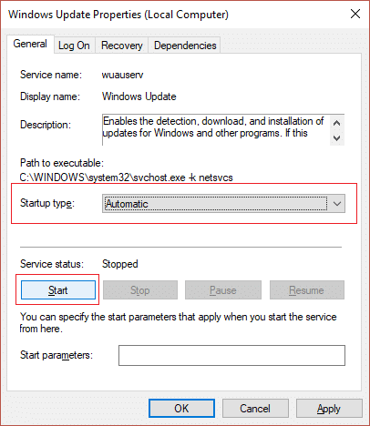 make sure Windows Update service is set to Automatic and click Start