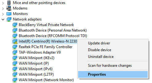 right-click on network adapter and select Properties