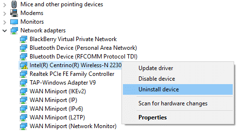 right click on network adapter and select uninstall