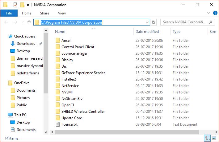 Delete files from NVIDIA Corporation files from Program Files Folder