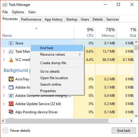 Right-click on Store and select End Task