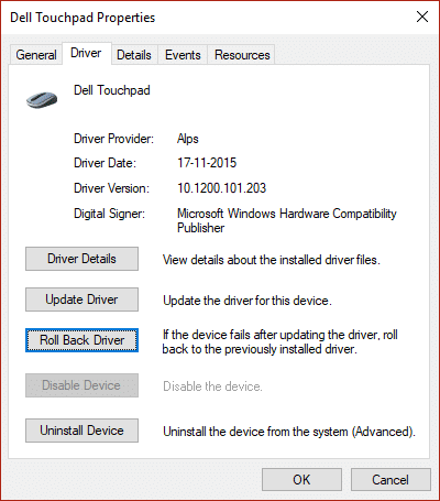 Switch to Driver tab and then select Roll Back Driver