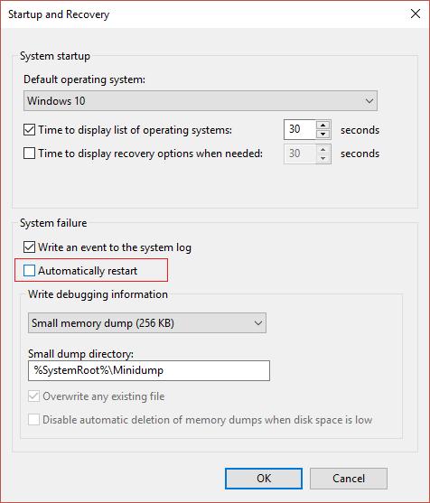 Under System failure uncheck Automatically restart