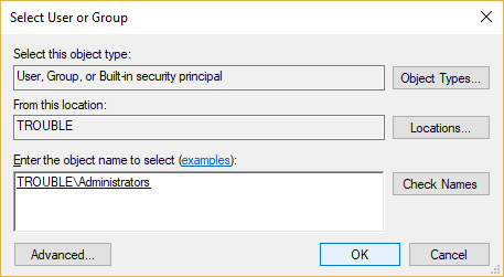 Click OK to add your administrator account to Owner Group