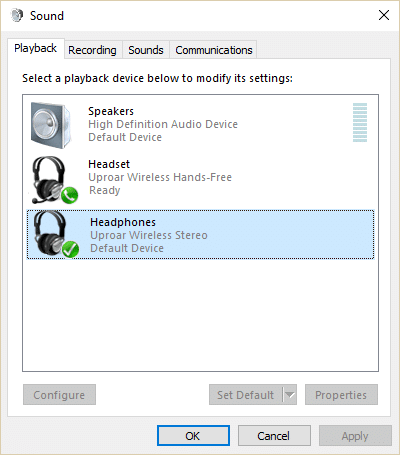 Computer stuck in headset mode under Playback devices