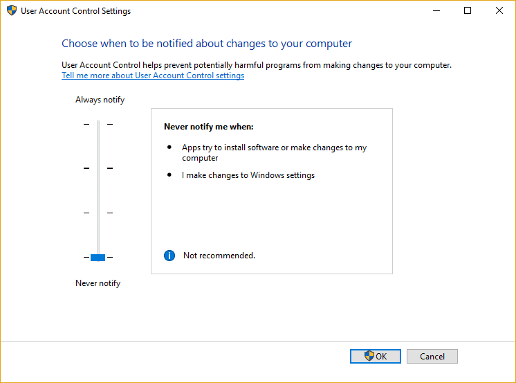 Drag the slider for UAC to all the way to down which is Never notify