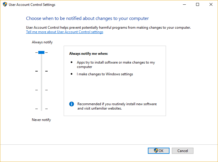 Drag the slider for UAC to all the way up which is Always notify