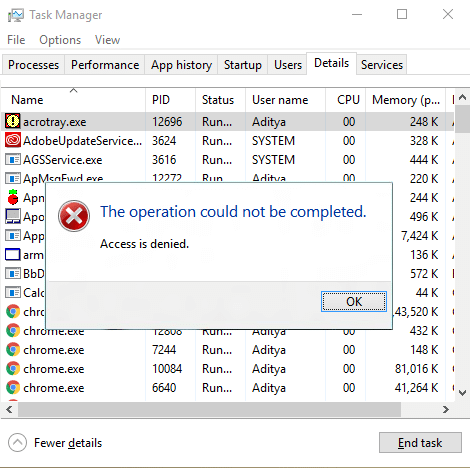 Fix Unable to change process priority in Task Manager